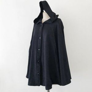 AA | Black Cotton Fleece Hooded Cape Sweater Top